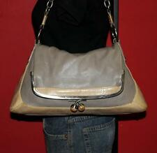 BCBG Maxazria Ivory Gray Leather Foldover Kisslock Satchel Hobo Purse Tote Bag