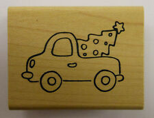 Pick-up Truck with Christmas Tree Rubber Stamp