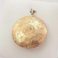 Large Victorian 10K Gold Hand Engraved Floral Snuff Locket Charm Pendant 14.8gr