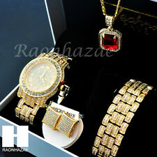HIP HOP ICED OUT MEEK MILL LAB DIAMOND WATCH RUBY NECKLACE BRACELET EARRING S00