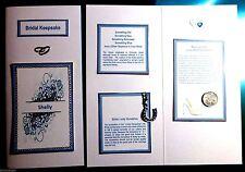 Something Blue Bridal Keepsake Card with Blue Horseshoe Charm & Sixpence Coin