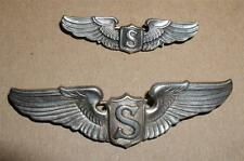 """two pair set -WW2 ARMY AIR CORP SERVICE PILOT WINGS -2"""" AMICO - 3"""" - STERLING"""
