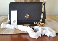 TORY BURCH ROBINSON CHAIN WALLET BLACK SAFFIANO LEATHER NWT