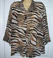 Alfred Dunner Women Blouse 16 Button Up  Long Sleeve Browns Sheer Polyester H1