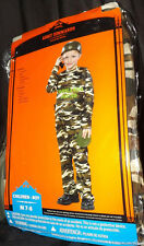 ARMY COMMANDO KIDS COSTUME SZ MED 7-8 JUMPSUIT VEST HELMET WALKIE TALKIE CANTEEN