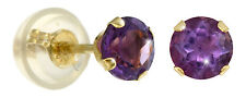 Studs AMETHYST 4 mm Gold 14K Yellow Gold