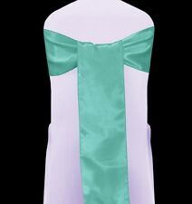 10 SPA TIFFANY BLUE  SATIN WEDDING  CHAIR SASHES BOWS