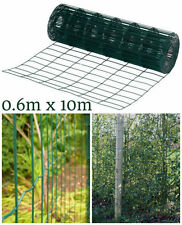 NEW HEAVY DUTY 10M X 0.6M GARDEN GREEN PVC COATED  STEEL WIRE MESH FENCING PANEL