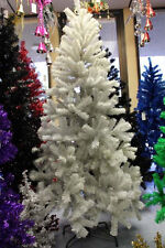 Perfect Holiday Artificial PVC Christmas Tree 6.5-Ft White w/ Metal Stand Unlit