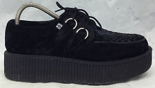 TUK Size 7 UK 8 US Men's 10 US Women's Lace Up Creepers Black Suede Shoes A8822