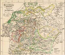162 Jahre alte Landkarte DEUTSCHLAND Anno 1600 Bisthümer Bistum Diözesen 1854