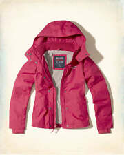 Hollister All Weather Hooded Women's PINK Lined Jacket Coat M Medium