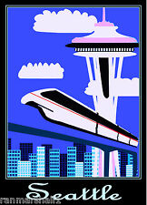 Seattle Washington Space Needle City United StatesTrvel Advertisement Poster