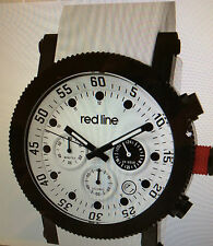 MEN'S WATCH RED LINE WHITE FACE WRISTWATCH - BRAND NEW BATTERY - QUARTZ