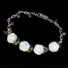925 SS 4.38 CTW SAPPHIRE & MOTHER OF PEARL BRACELET 7 INCH & EARRINGS SET