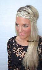 Gold Diamante Flower Diamond Jewel Head Band Choochie Choo Hippy Boho Bohemian