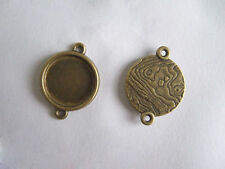 10 Antique Bronze 14mm Round Cameo Cabochon Settings Tray Bezel Blanks Connector
