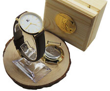 Custom Engrave Leather Wristwatch Luxury Watch FREE Engraving Unisex Wood Case