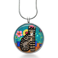 Folk Art Cat Necklace,  Colorful Cat - animal pendant - christmas gifts for her