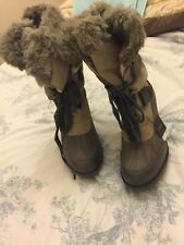 Next New Fur Wedge Grey & Taupe Suede Ladies Boots 7 Winter Sheepskin AW15