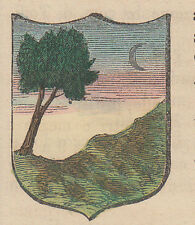 1865 Stemma di Montenars (araldica civica), Udine litografia acquarellata
