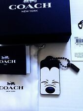 New Coach Disney Mickey Mouse Leather Profile Hang Tag Bag Charm 54090 Box pouch