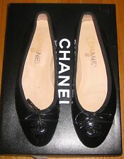 CHANEL Black Patent Leather Cap Toe CC Ballet Ballerina Flats Shoes 37.5 7 1/2
