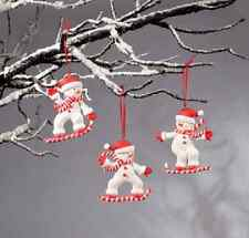 Candy Cane Snow Skiers Ornaments 3 Pc Christmas Party Favor Gift Item (OWX45515)