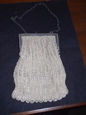 """Vintage Beaded Purse Sm 6.5"""" x 5"""" with 7"""" chain Antique purse with button lock."""