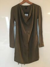 Edun Army Green Stretch Silk Long Sleeve Drape Neck Shirt Dress S Small New NWT