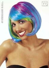 Multi Coloured Neon Blue Bob Wig Cyber Nu Rave Space Fancy Dress