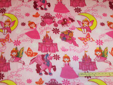 Pink Princess Kingdom Castle Unicorn Fleece Fabric  by the Yard