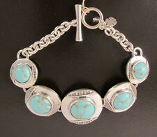 NWT Auth Lucky Brand Silver-Tone Framed Stone Link Bracelet