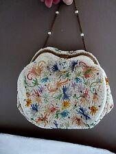 SAKS FIFTH AVENUE Ivory Beads + Embroidery BRIDAL EVENING BAG Gold Frame FRANCE