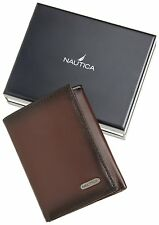 NEW NAUTICA MEN'S PREMIUM LEATHER CREDIT CARD ID WALLET TRIFOLD BROWN 6261-02