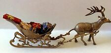 Vintage 3 Piece Solid Brass Reindeer and Sleigh Complete with Presents