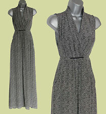 LAUREN B Black/ivory Print Silky Georgette V-Neck Maxi Dress sz-M Formal Casual