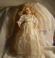 """**MUST SEE** Gorgeous Porcelain 17"""" Bride Doll with Stand #0290"""