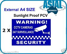 2 x PVC Stickers A4 CCTV Camera Surveillance Warning Security Sign