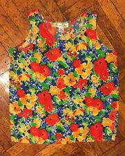 OSCAR DE LA RENTA 100% silk Red Green Tank Sleeveless floral-print  blouse SZ M