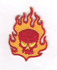 FLAMING SKULL PATCH(Small)-Iron On Embroidered Applique/Biker, Punk, Pirates