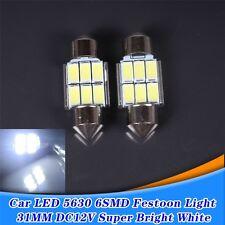 2 x 31mm 6 SMD 5630 LED Car Interior Festoon Dome Light Bulbs Lamp White DC 12V