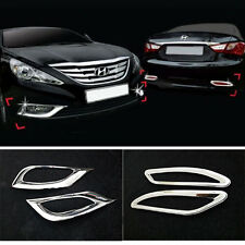 FIT FOR 11-13 HYUNDAI SONATA YF i45 CHROME FRONT + REAR FOG LIGHT COVER GARNISH