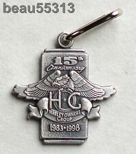 HARLEY DAVIDSON OWNERS GROUP HOG 1983-1998 15th ANNIVERSARY ZIPPER PULL