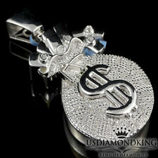"""White Gold Over Sterling Silver .33ct Diamond Money Bag Piece Pendant Charm 2.5"""""""