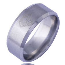Decent Mens Boys Womens 14K White Gold Plated Weeding Band Ring Size 8.25