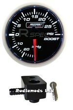 Ford Fiesta ST180 52mm White Boost gauge PSI and fitting adaptor