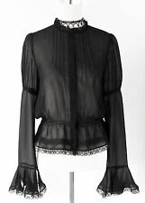 Very detailed Black Victorian Gothic high neck Blouse 10 NEW Steampunk/Lagenlook