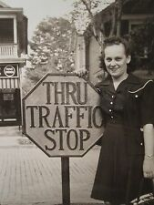 ANTIQUE THRU TRAFFIC STOP IRON STREET SIGN FOOD STORES 10 CENT LOVELY LADY PHOTO