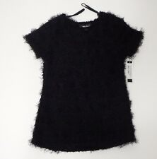 Girl Short Cap Sleeve Shirt Black Large Furry Texture Amy Byer